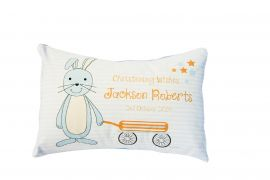 Personalised Christening Cushion for Boys - SWEET BOY BUNNY Design