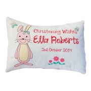Personalised Christening Cushion for Girls - SWEET BUNNY Design