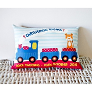 Personalised Christening Cushion for Boys - TRAIN Design