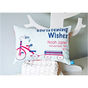 Personalised Christening Cushion for Boys - TRICYCLE Design