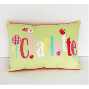 .Personalised Cushion for kids - Charlotte in Apple Green Design