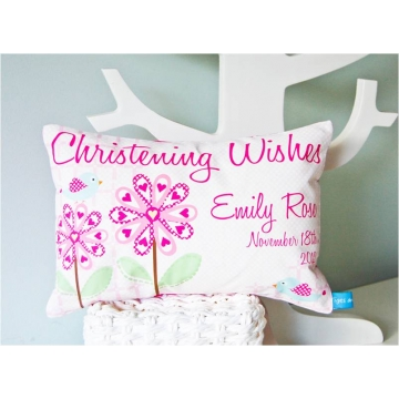 .Personalised Cushion for kids - Christening Girls PRETTY FLOWERS Design