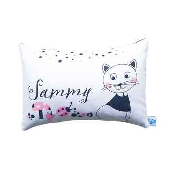 .Personalised Cushion for kids - Monochromatic Kitty Design