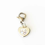 Heart with Diamante Dangle - Silver Tone Dangle for Floating Memory Locket