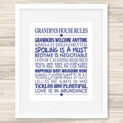 Personalised Wall Art Print - Fathers Day Print - Grandpa's House Rules
