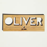 Personalised wooden bamboo name plaque - Boys Name Plaque