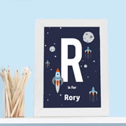 Personalised Framed Name Print for bedroom - Rocket