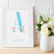 Personalised Framed Name Print for bedroom - Woodland