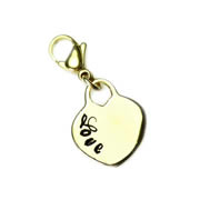 .Personalised Heart - gold tone Dangle for Floating Memory Locket
