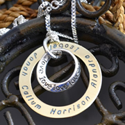 .Personalised Handstamped or Precision Stamped Silver Necklace - Gold Range - Gold Eternity Circle of Love