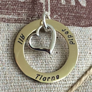 .Personalised Handstamped or Precision Stamped Silver Necklace - Gold Range - Gold Large Eternity Circle with Silver Heart