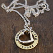 .Personalised Handstamped or Precision Stamped Silver Necklace - Gold Range - Heart in my Gold Circle