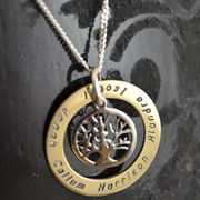.Personalised Handstamped or Precision Stamped Silver Necklace - Gold Range - Large Gold Eternity Tree