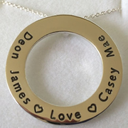 .Personalised Handstamped or Precision Stamped Silver Necklace - Gold Range - Medium Eternity GOLD