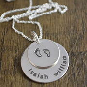 .Personalised Handstamped or Precision Stamped Silver Necklace - Silver Name Pendant Range - Beautiful Babes