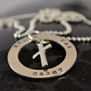 .Personalised Handstamped or Precision Stamped Silver Necklace - Charm Range - Eternity Circle Large with Cross