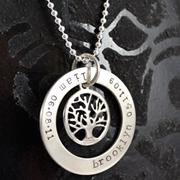 .Personalised Handstamped or Precision Stamped Silver Necklace - Charm Range - Eternity Circle Large with small Family Tree