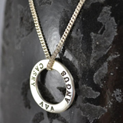 .Personalised Handstamped or Precision Stamped Silver Necklace - Silver Name Pendant Range - Eternity Circle Small