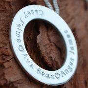 .Personalised Handstamped or Precision Stamped Silver Necklace - Silver Name Pendant Range - Extra Large Eternity