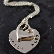 .Personalised Handstamped or Precision Stamped Silver Necklace - Charm Range - Heart to Heart