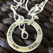 .Personalised Handstamped or Precision Stamped Silver Necklace - Charm Range - Infinite Eternity