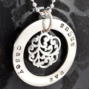 .Personalised Handstamped or Precision Stamped Silver Necklace - Charm Range - Large Circle with decorative centre