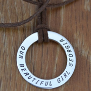.Personalised Handstamped or Precision Stamped Silver Necklace - Silver Name Pendant Range - Large eternity circle on leather