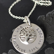 .Personalised Handstamped or Precision Stamped Silver Necklace - Charm Range - Large Pendant with Family Tree