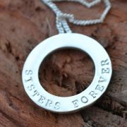 .Personalised Handstamped or Precision Stamped Silver Necklace - Silver Name Pendant Range - Medium Eternity Circle