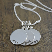 .Personalised Handstamped or Precision Stamped Silver Necklace - Silver Name Pendant Range - Medium Pendant (one pendant)
