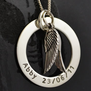 .Personalised Handstamped or Precision Stamped Silver Necklace - Charm Range - My Angel