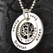 .Personalised Handstamped or Precision Stamped Silver Necklace - Charm Range - My Family Tree