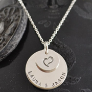 .Personalised Handstamped or Precision Stamped Silver Necklace - Silver Name Pendant Range - My Heart