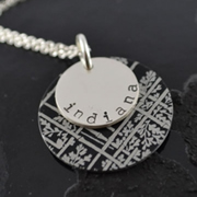 .Personalised Handstamped or Precision Stamped Silver Necklace - Charm Range - Silver with Style - Black