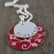 .Personalised Handstamped or Precision Stamped Silver Necklace - Charm Range - Silver with Style - Red