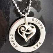 .Personalised Handstamped or Precision Stamped Silver Necklace - Charm Range - Large Circle with mother and child heart