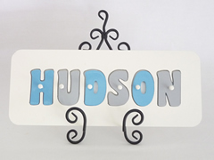 Personalised Kids Wooden Jigsaw Name Puzzle  (Grey/Sky Blue)