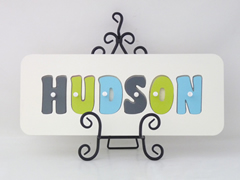 Personalised Kids Wooden Jigsaw Name Puzzle  (Charcoal/Lime/Light Aqua)