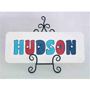 Personalised Kids Wooden Jigsaw Name Puzzle  (Navy/Red/Aqua)