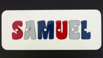 Personalised Kids Wooden Jigsaw Name Puzzle (Red/Grey/Navy)