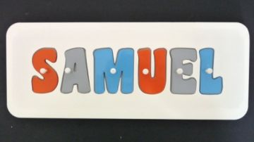 Personalised Kids Wooden Jigsaw Name Puzzle (Tangerine/Sky Blue/Grey)