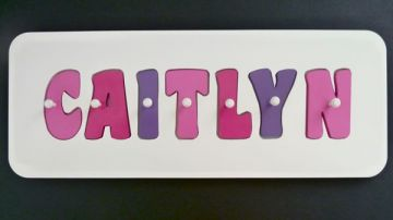 Personalised Kids Wooden Jigsaw Name Puzzle (Pink/Hot Pink/Purple)