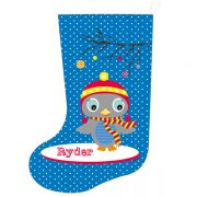 Christmas Stocking for Kids Personalised  - Boys Blue Owl Design