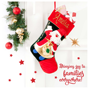 Christmas Stocking for Kids Personalised  Ho Ho Ho - Hand Painted