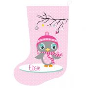Christmas Stocking for Kids Personalised  - Girls Pink Owl Design