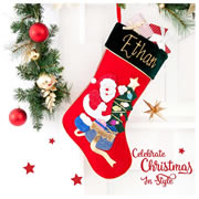 Christmas Stocking for Kids Personalised  Tree - Hand Painted