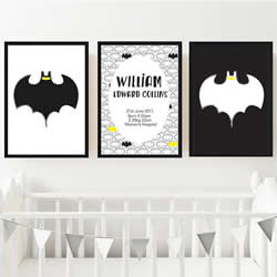 Personalised Birth Wall Art Print for bedroom - Batman Boys - Set of 3