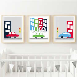 Personalised Birth Wall Art Print for bedroom - Cars & Building - Set of 3