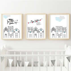 Personalised Birth Wall Art Print for bedroom - Flying High Plane - Set of 3