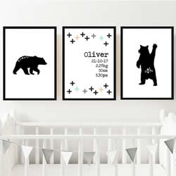 Personalised Birth Wall Art Print for bedroom - Mountain Bear Boys - Set of 3